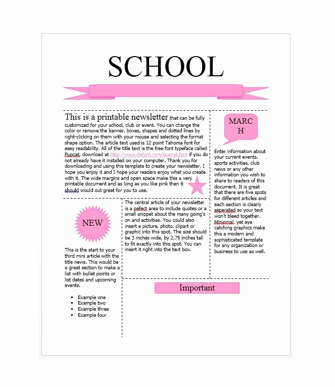 School Newsletter Templates Free Inspirational 50 Free Newsletter Templates for Work School and Classroom