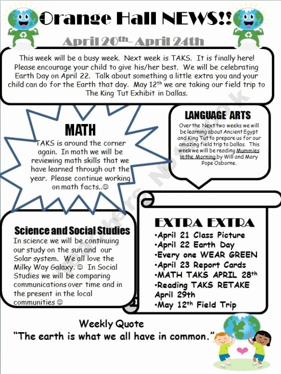 School Newsletter Templates Free Inspirational 69 Best Images About 5th Grade On Pinterest