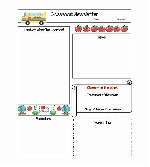 School Newsletter Templates Free Inspirational Classroom Newsletter Template – 9 Free Word Pdf