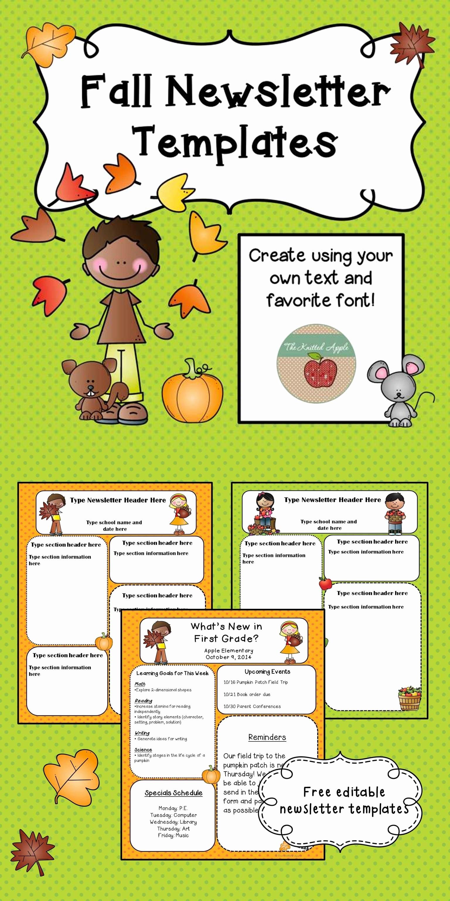 School Newsletter Templates Free Inspirational Free Fall themed Newsletter Templates …