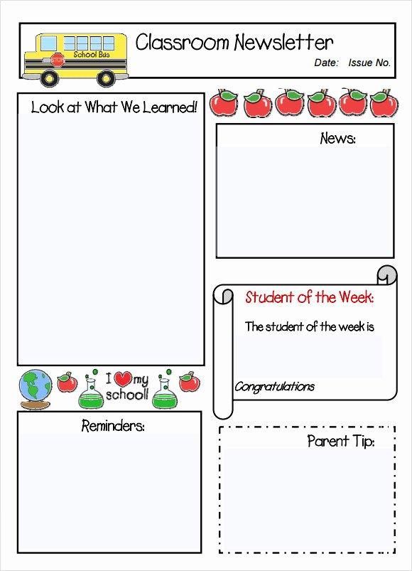 School Newsletter Templates Free Luxury Free Program Teacher Newsletter Template