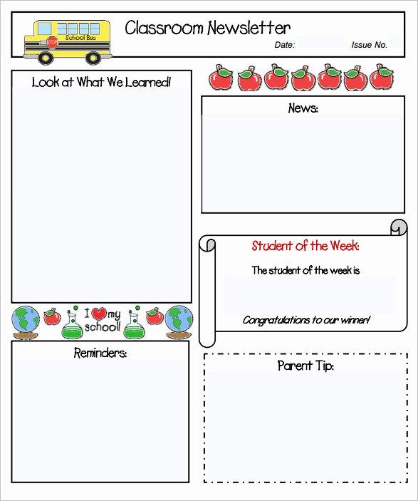 School Newsletter Templates Free New Sample Kindergarten Newsletter Template 15 Free