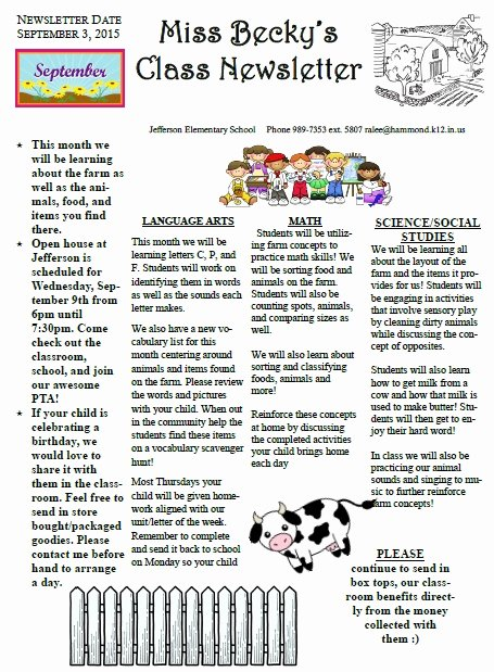 School Newsletter Templates Free Unique 27 Of Elementary Classroom Newsletter Template