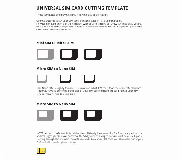 Sim Card Cutting Template Unique Micro Sim Template – 10 Free Word Pdf Documents Download