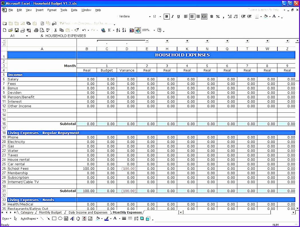 Simple Budget Template Excel Best Of 10 Simple Bud Template Excel Exceltemplates