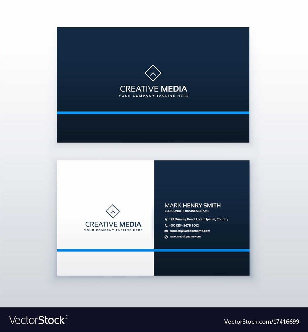 Simple Business Card Design Awesome Simple Blue Business Card Design Template Vector Image
