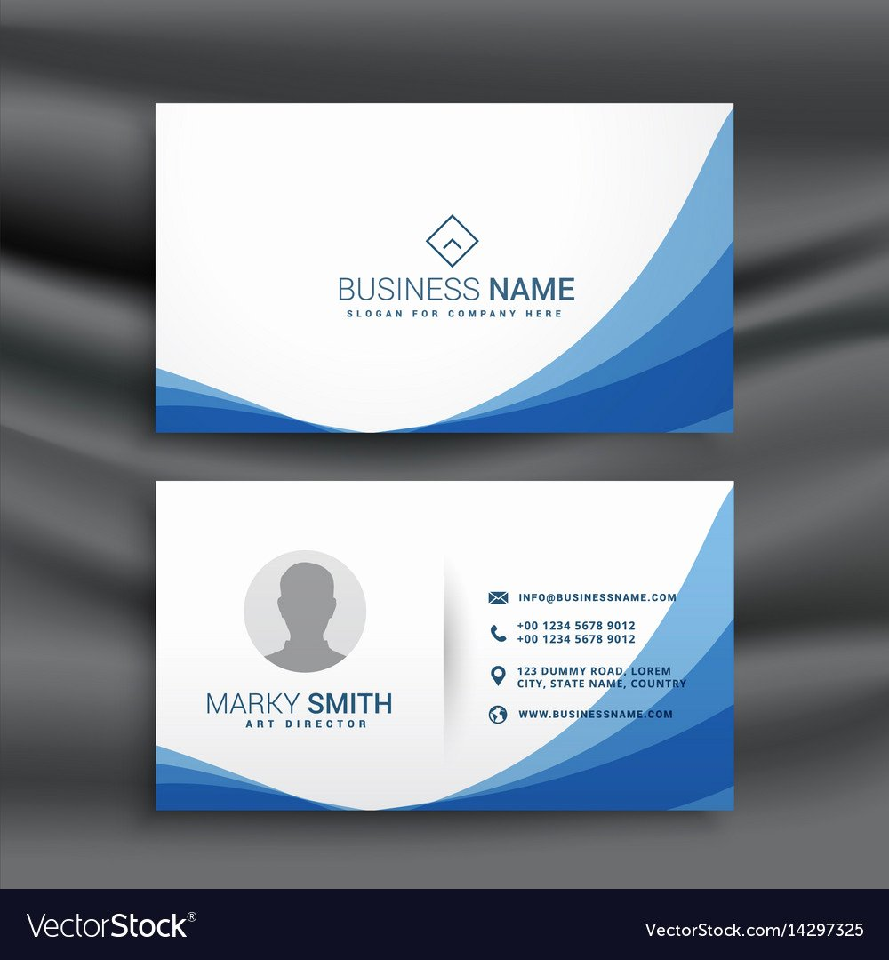 Simple Business Card Design Elegant Blue Wave Simple Business Card Design Template Vector Image