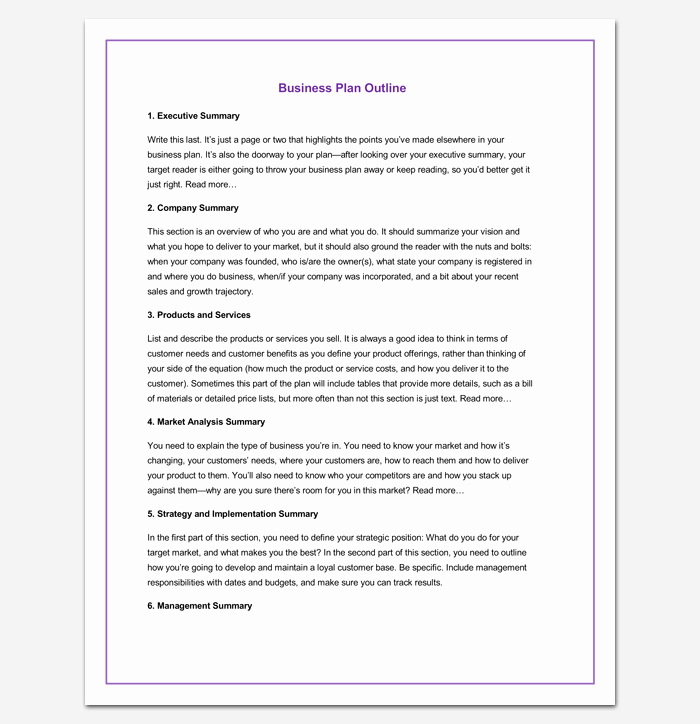 Simple Business Plan Outline Beautiful Business Outline Template 20 Free Samples formats