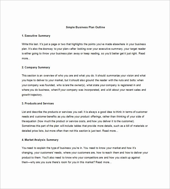 Simple Business Plan Outline Elegant Business Plan Outline Template 23 Free Sample Example