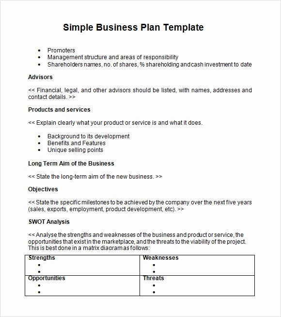 Simple Business Plan Outline Elegant Free 21 Simple Business Plan Templates In Pdf Word