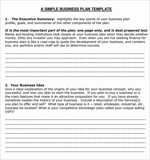 Simple Business Plan Outline Lovely Small Business Plan Template 6 Free Download for Pdf