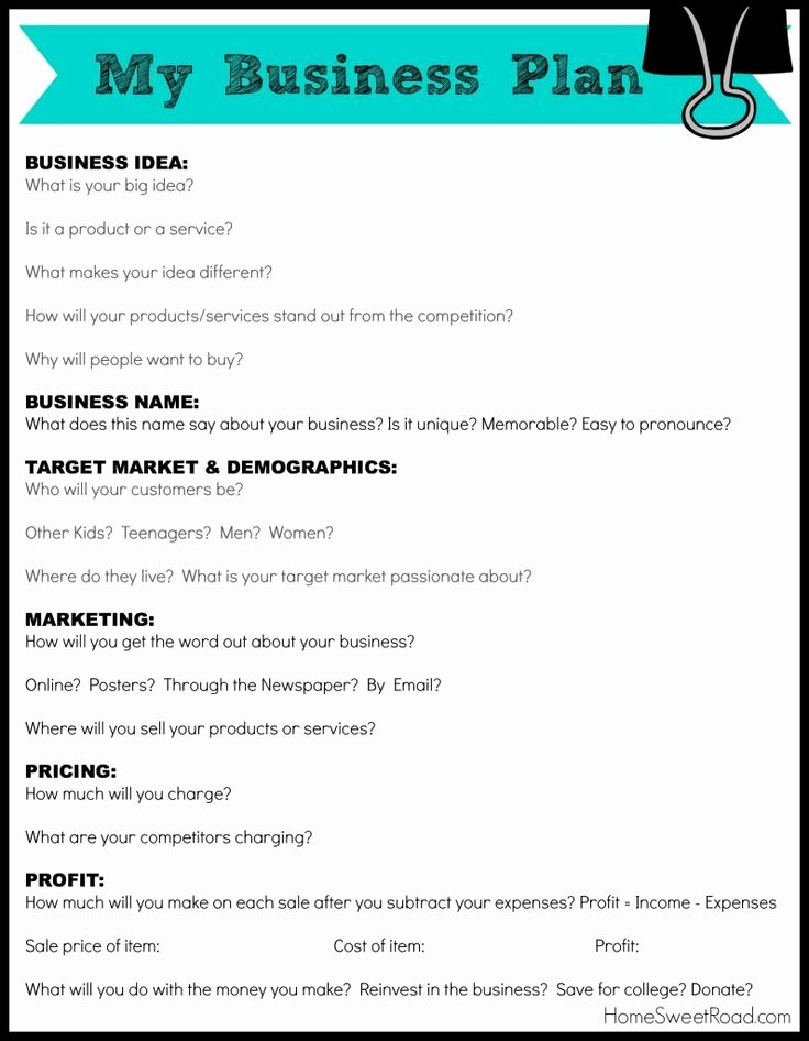Simple Business Plan Outline Luxury Business Plan Worksheet for Students