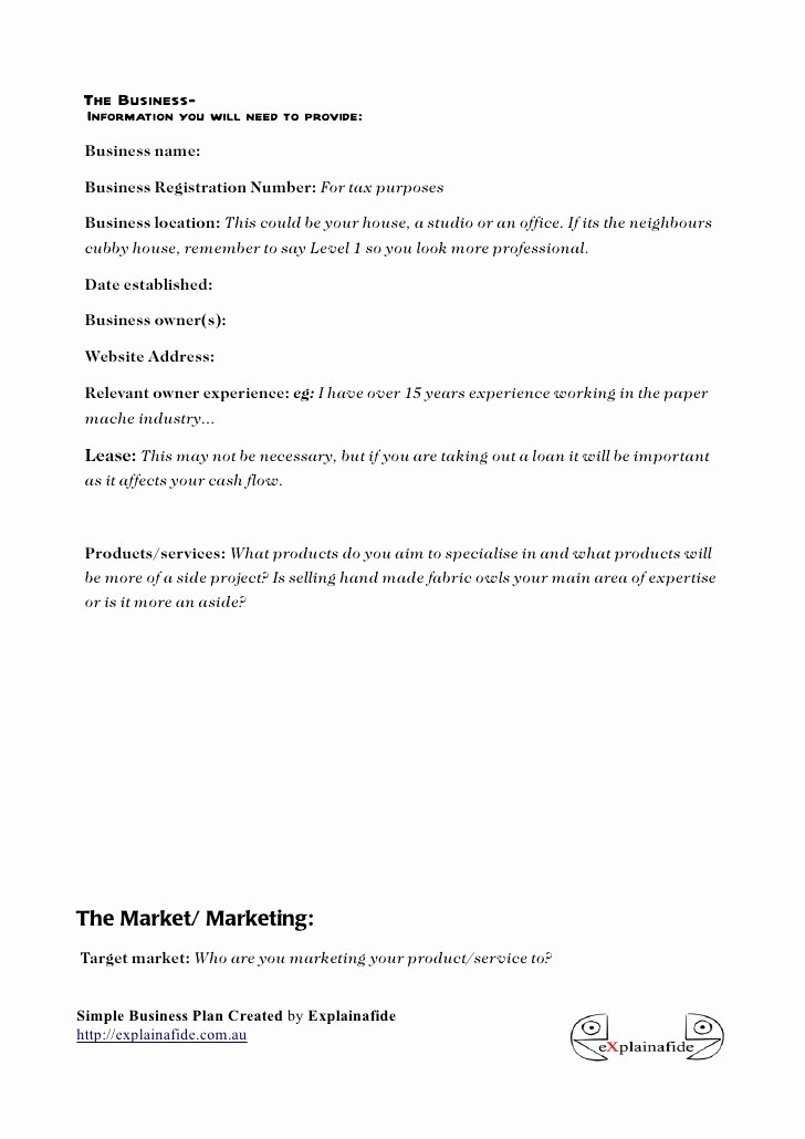 Simple Business Plan Outline New Free Small Business Plan Template