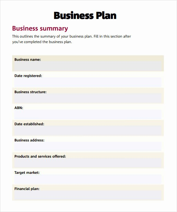 Simple Business Plan Outline New Sample Simple Business Plan
