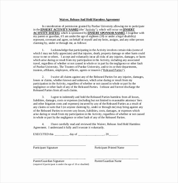 Simple Hold Harmless Agreement Awesome 11 Hold Harmless Agreement Templates– Free Sample