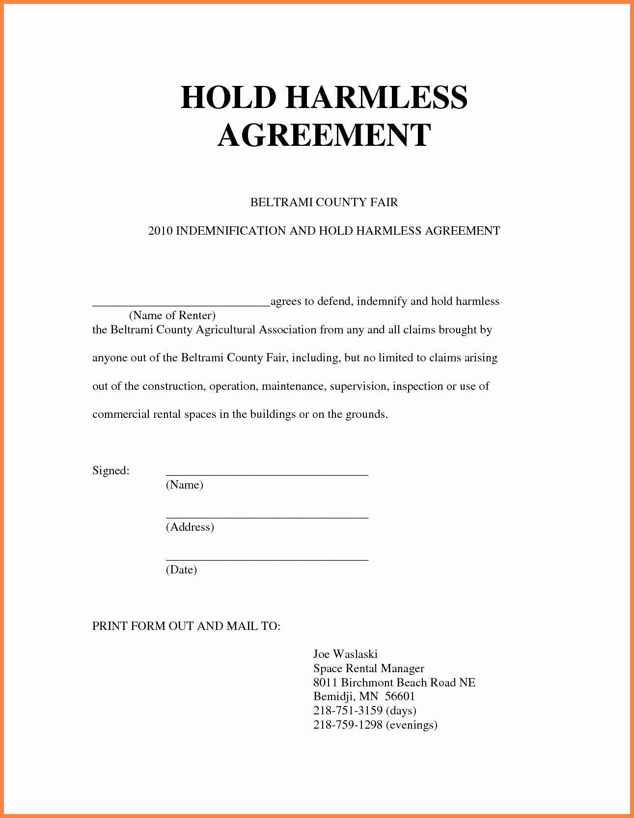 Simple Hold Harmless Agreement Awesome 6 Hold Harmless Agreement Real Estate Sample
