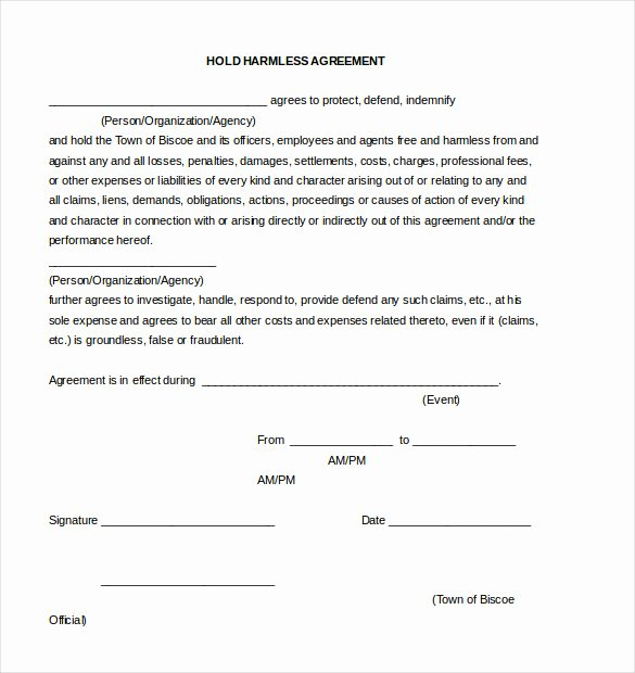 Simple Hold Harmless Agreement Awesome Hold Harmless Agreement Template – 13 Free Word Pdf