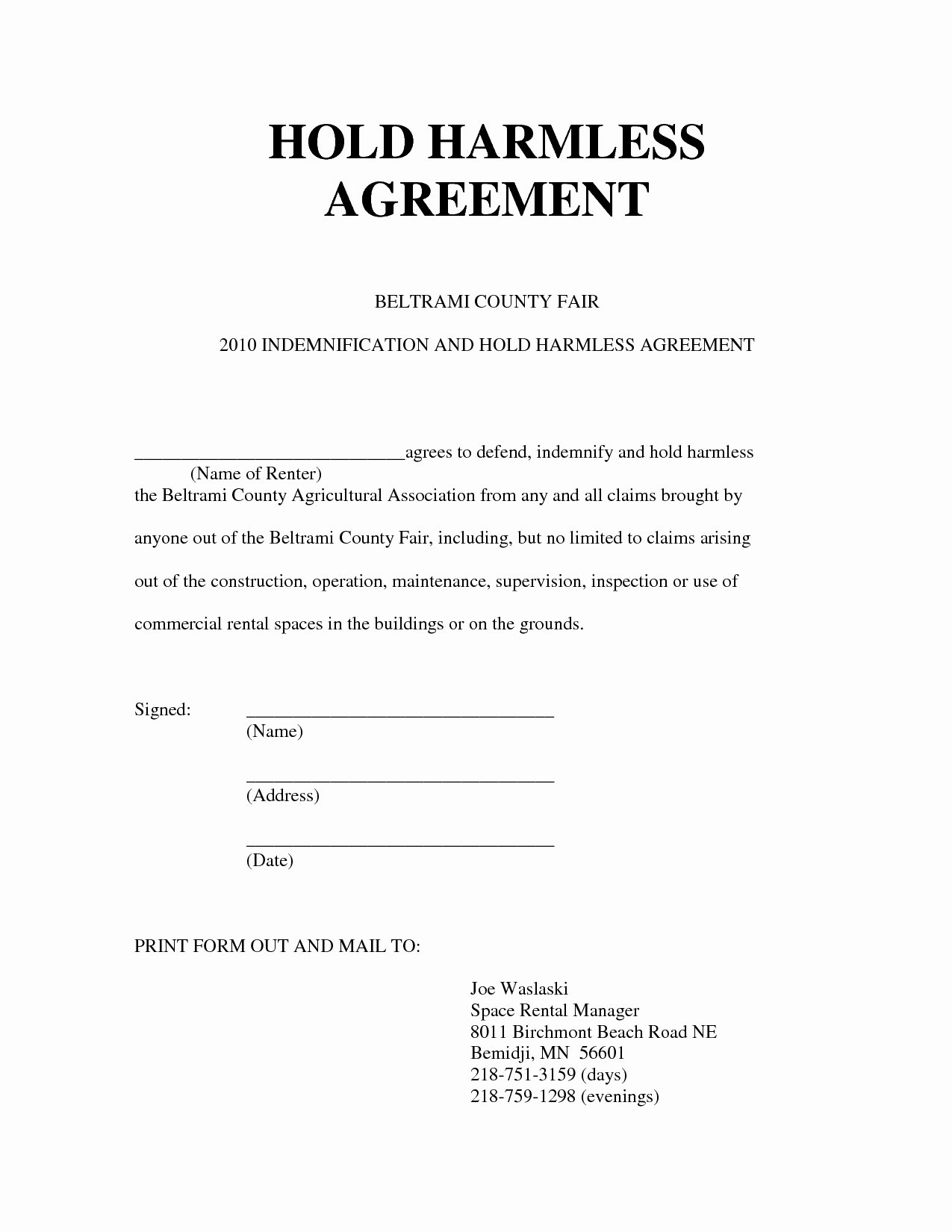 Simple Hold Harmless Agreement Awesome Release and Hold Harmless Agreement form Advanced Hold