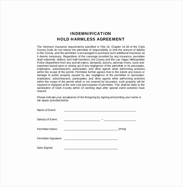 Simple Hold Harmless Agreement Best Of Hold Harmless Agreement form