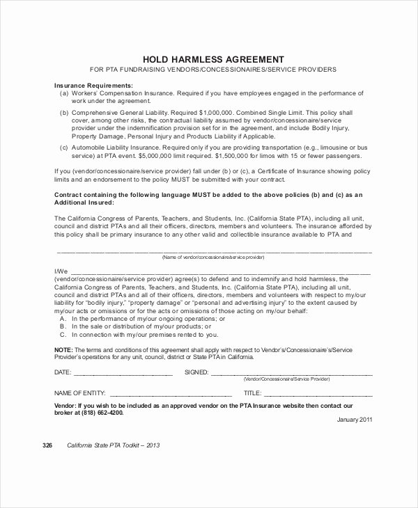 Simple Hold Harmless Agreement Inspirational 14 Hold Harmless Agreements Free Sample Example