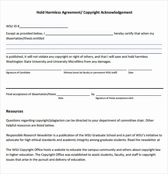 Simple Hold Harmless Agreement Lovely Hold Harmless Agreement 9 Free Samples Examples format