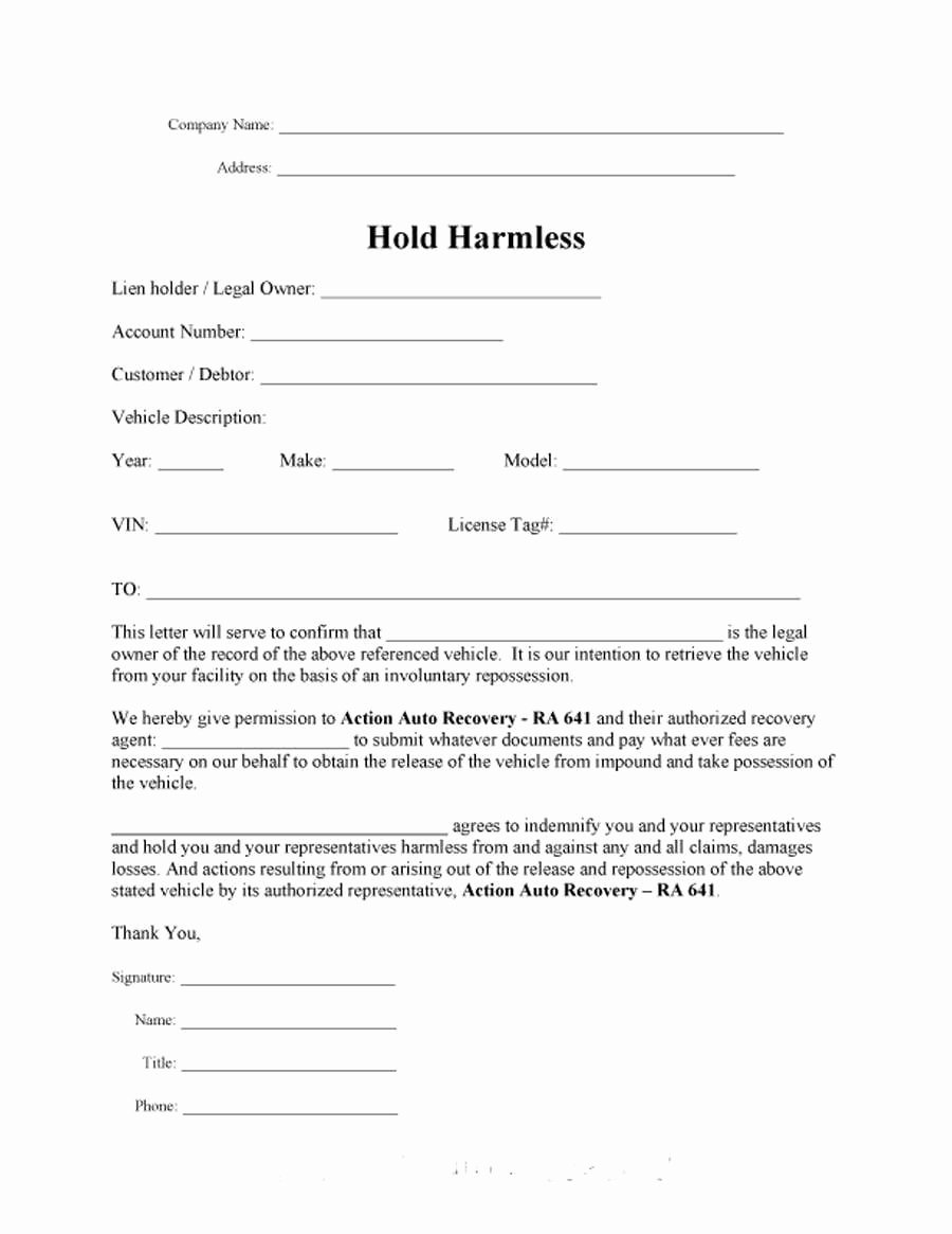 Simple Hold Harmless Agreement Lovely Hold Harmless Agreement Florida New Release and Hold