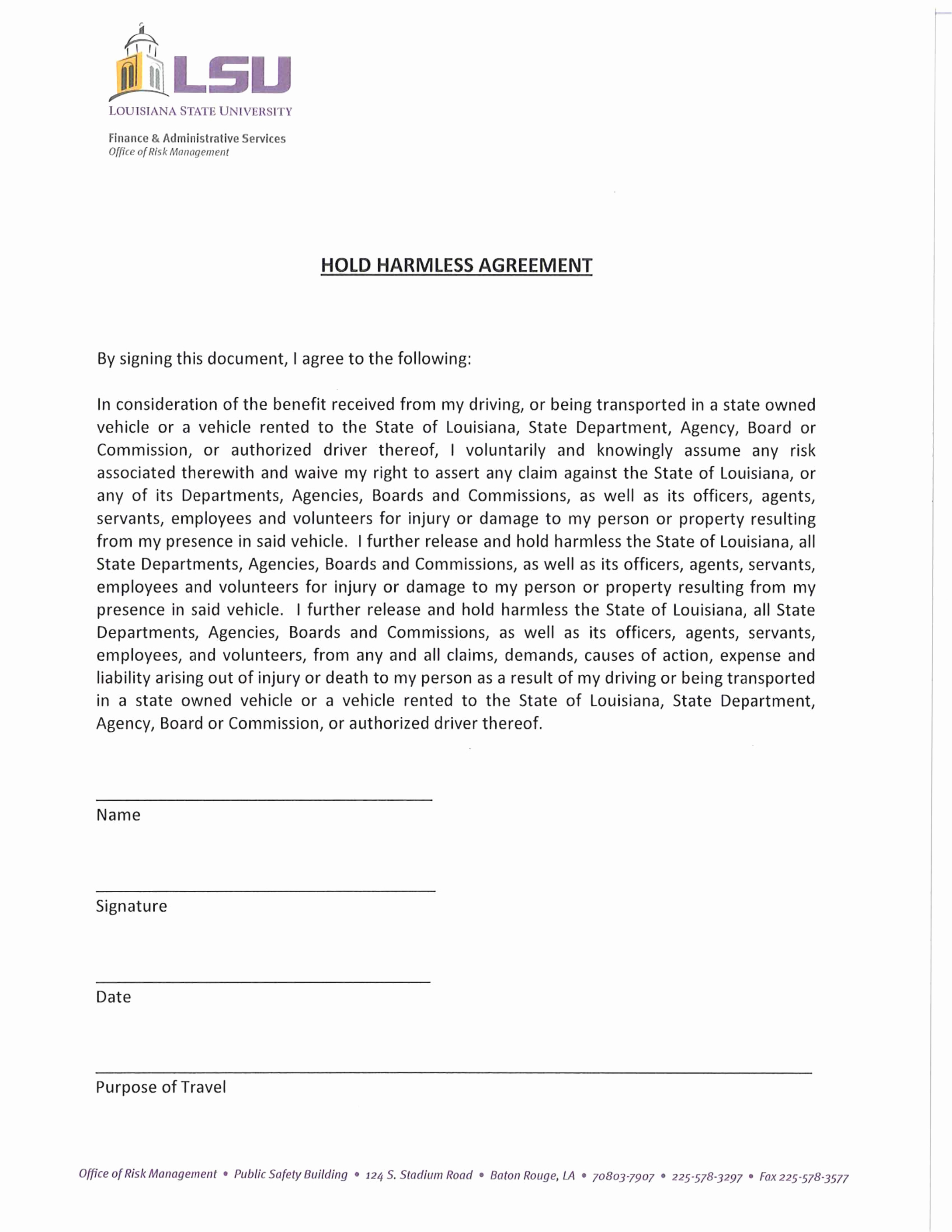 Simple Hold Harmless Agreement New Sample Hold Harmless Agreement Free Download