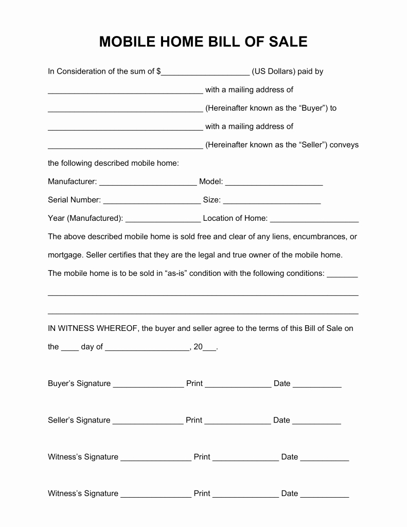 Simple Home Purchase Agreement Awesome Mobile Home Purchase Agreement