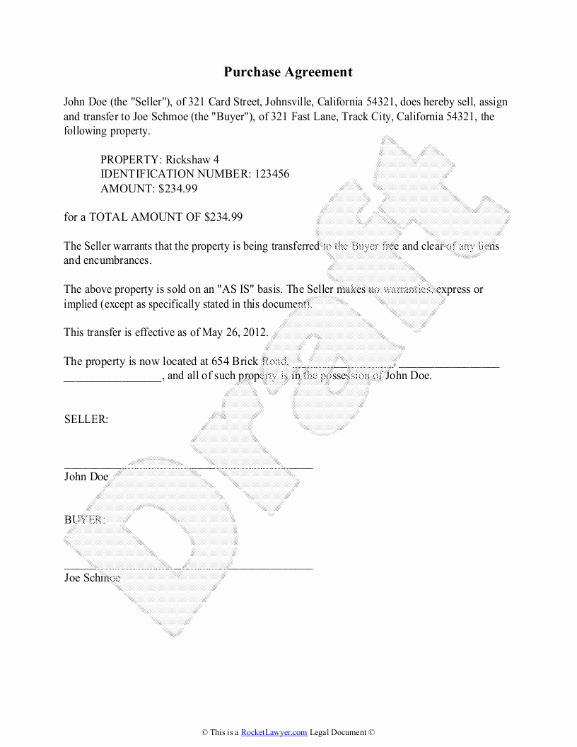 Simple Home Purchase Agreement Awesome Purchase Agreement Template Free Purchase Agreement