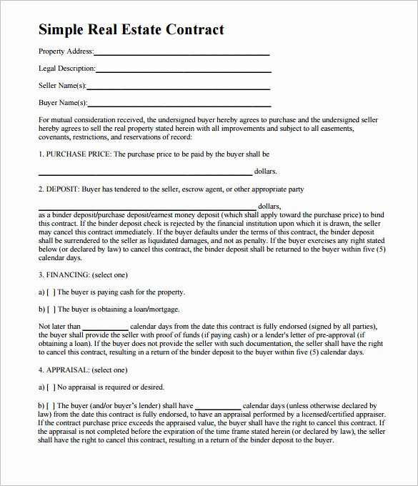 Simple Home Purchase Agreement Beautiful 8 Real Estate Contract Templates – Free Word Pdf format