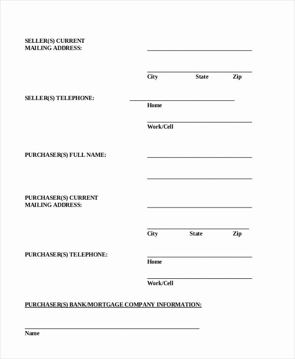 Simple Home Purchase Agreement Beautiful Sample Real Estate Purchase Agreement form 6 Free