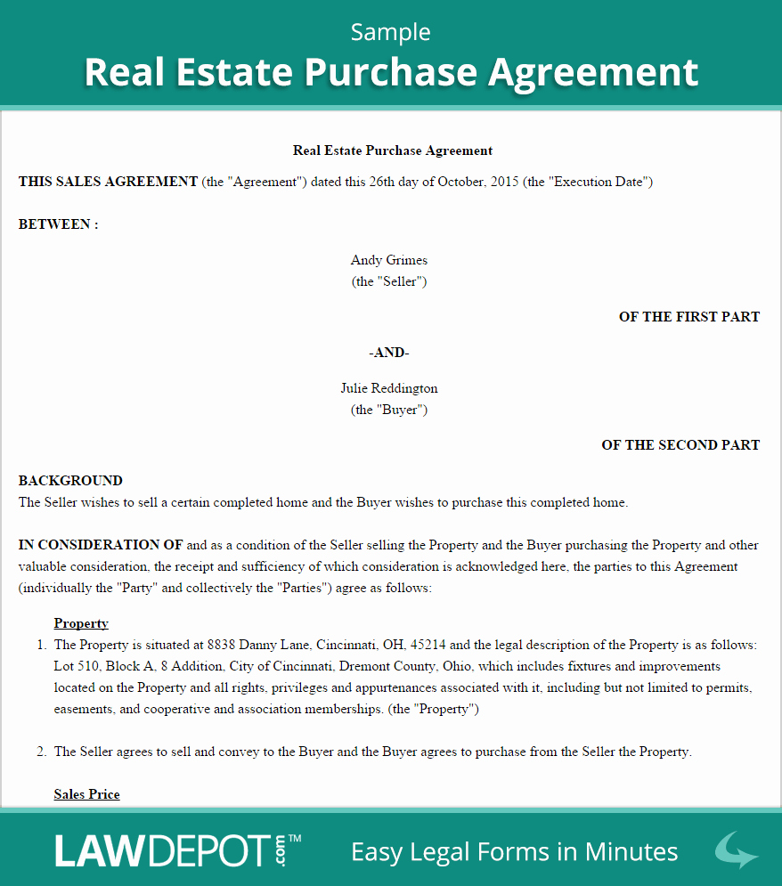 Simple Home Purchase Agreement Luxury Real Estate Purchase Agreement United States form Lawdepot