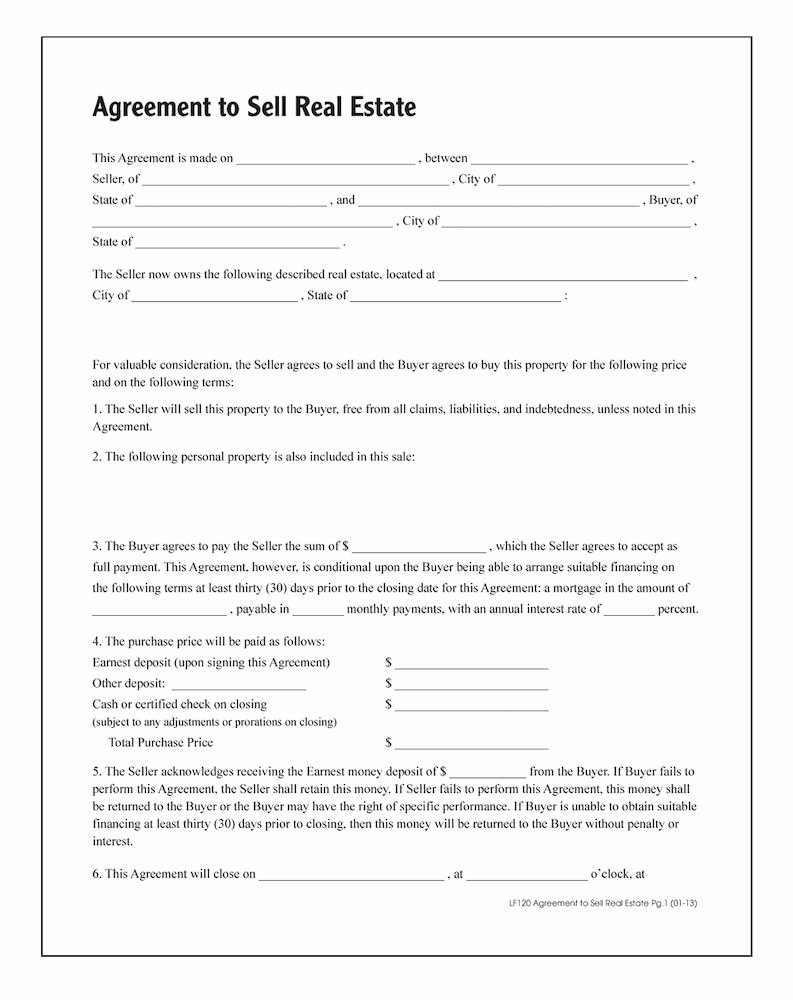 Simple Land Purchase Agreement form Awesome Agreement to Sell Real Estate forms and Instructions