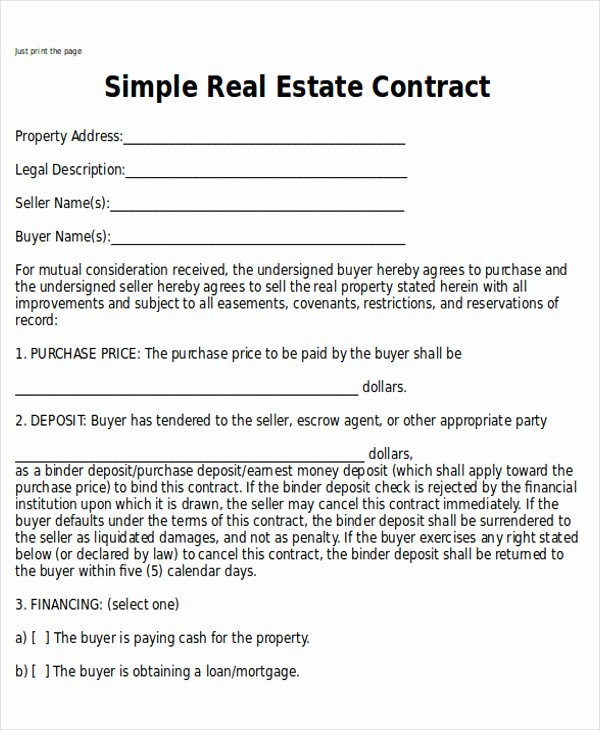 Simple Land Purchase Agreement form Awesome Sample Home Sales Contracts 7 Examples In Word Pdf