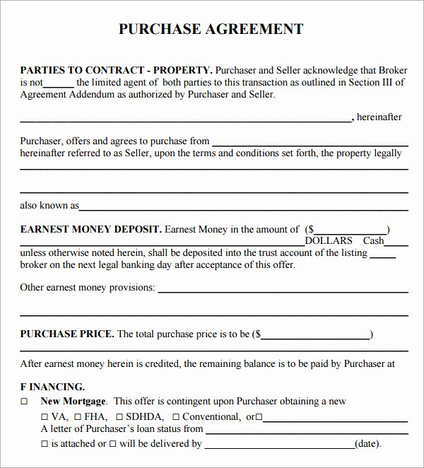 Simple Land Purchase Agreement form Awesome Simple Land Purchase Agreement form