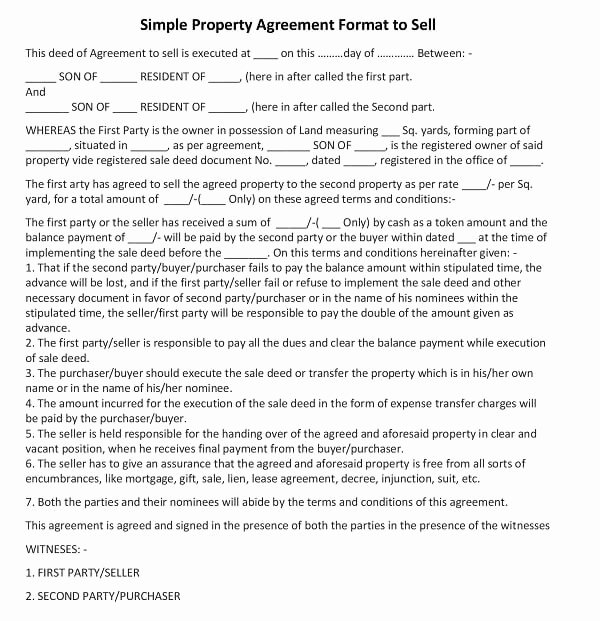 Simple Land Purchase Agreement form Fresh Simple Property Agreement format to Sell