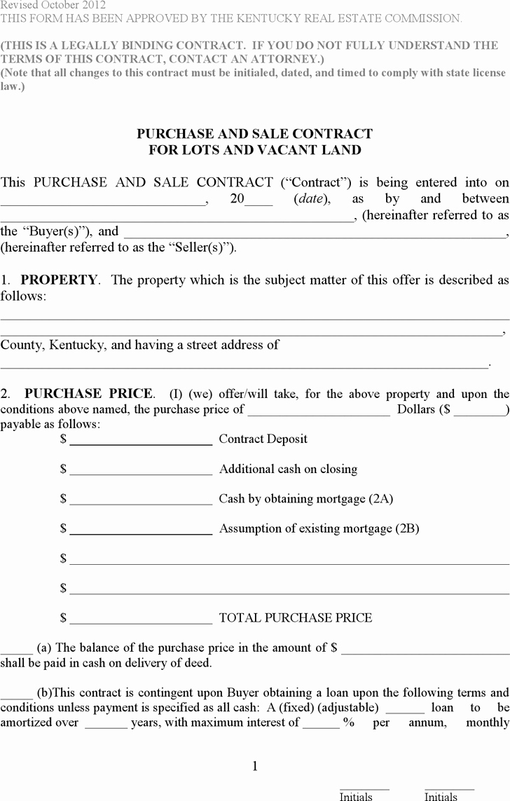 Simple Land Purchase Agreement form Lovely Free Kentucky Purchase and Sale Contract for Lots and