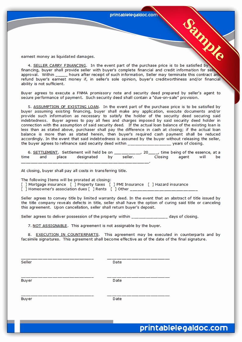 Simple Land Purchase Agreement form Lovely Free Printable Contract to Sell Land Contract form