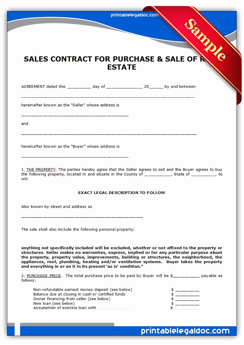Simple Land Purchase Agreement form Unique Free Printable Contract to Sell Land Contract form