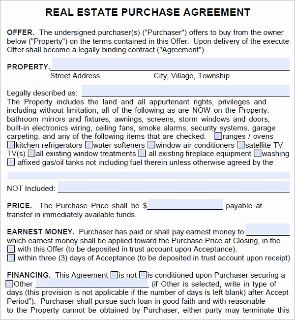 Simple Land Purchase Agreement form Unique Real Estate Purchase Agreement 7 Free Pdf Download
