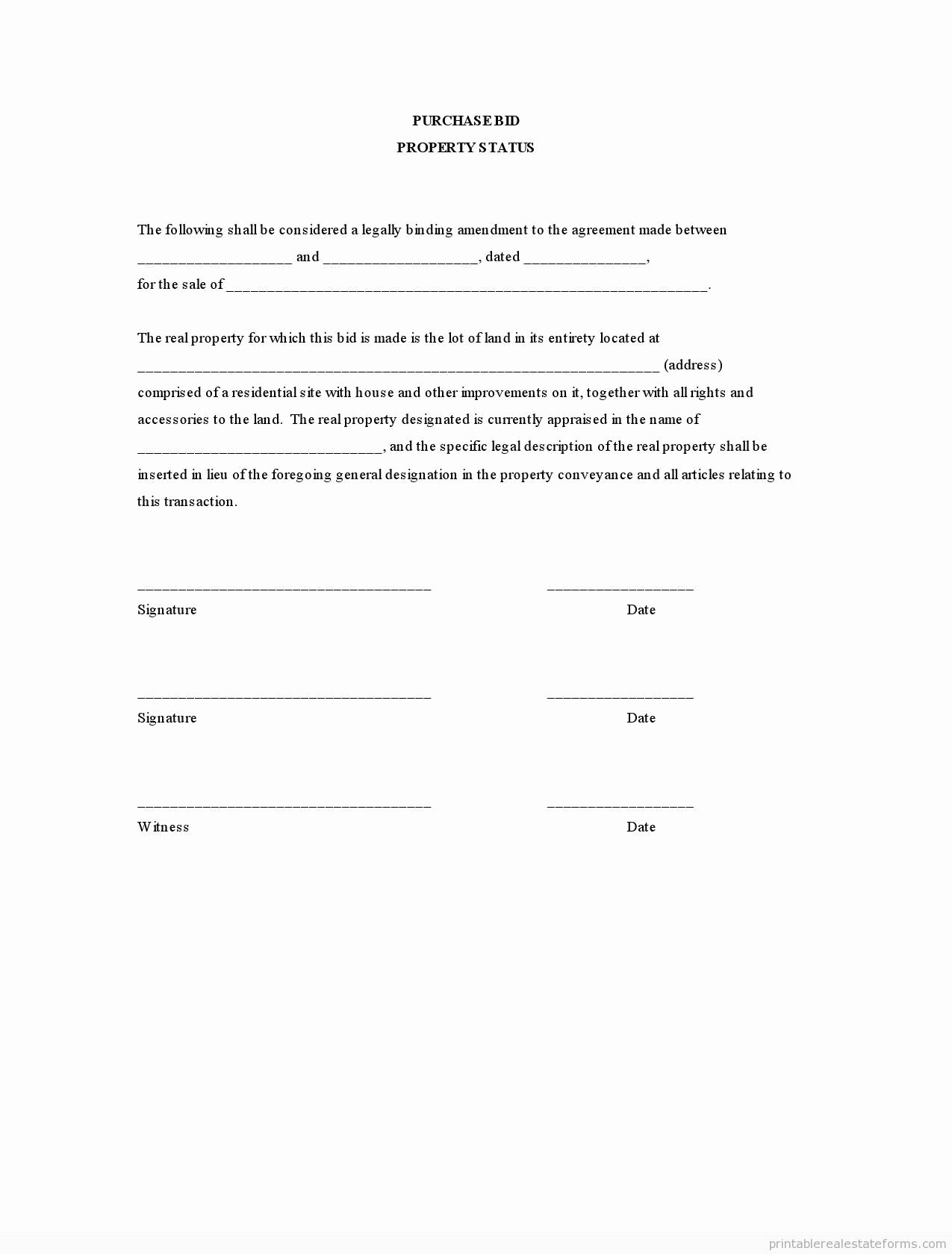 Simple Land Purchase Agreement form Unique Sample Printable Purchase Bid Property Status form