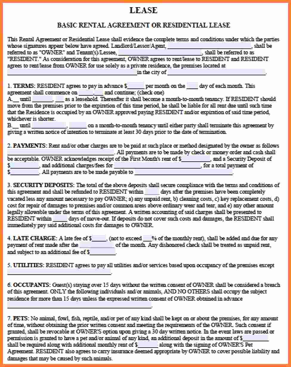 Simple Lease Agreement Pdf Inspirational 8 Rental Lease Agreement Pdf