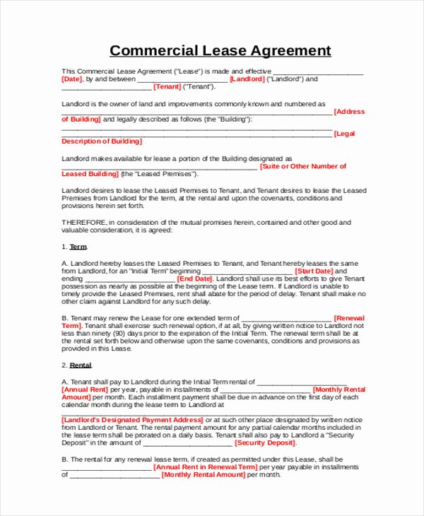 Simple Lease Agreement Pdf New 9 Business Lease Agreement Sample Free Sample Example