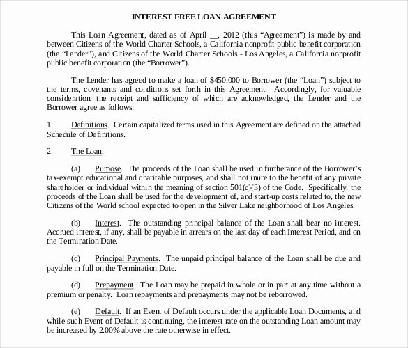 Simple Loan Agreement Pdf Awesome Loan Contract Template – 20 Examples In Word Pdf