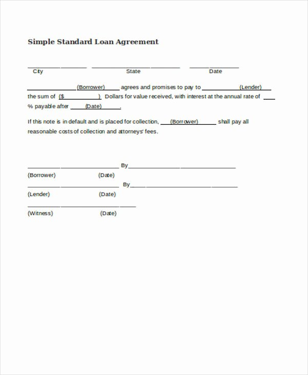 Simple Loan Agreement Pdf Fresh Free 37 Free Loan Agreement forms
