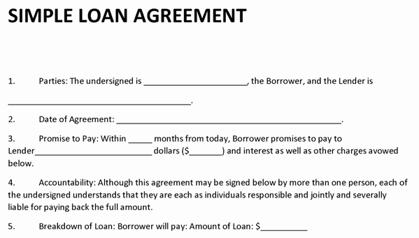 Simple Loan Agreement Pdf Lovely Loan Agreement Template