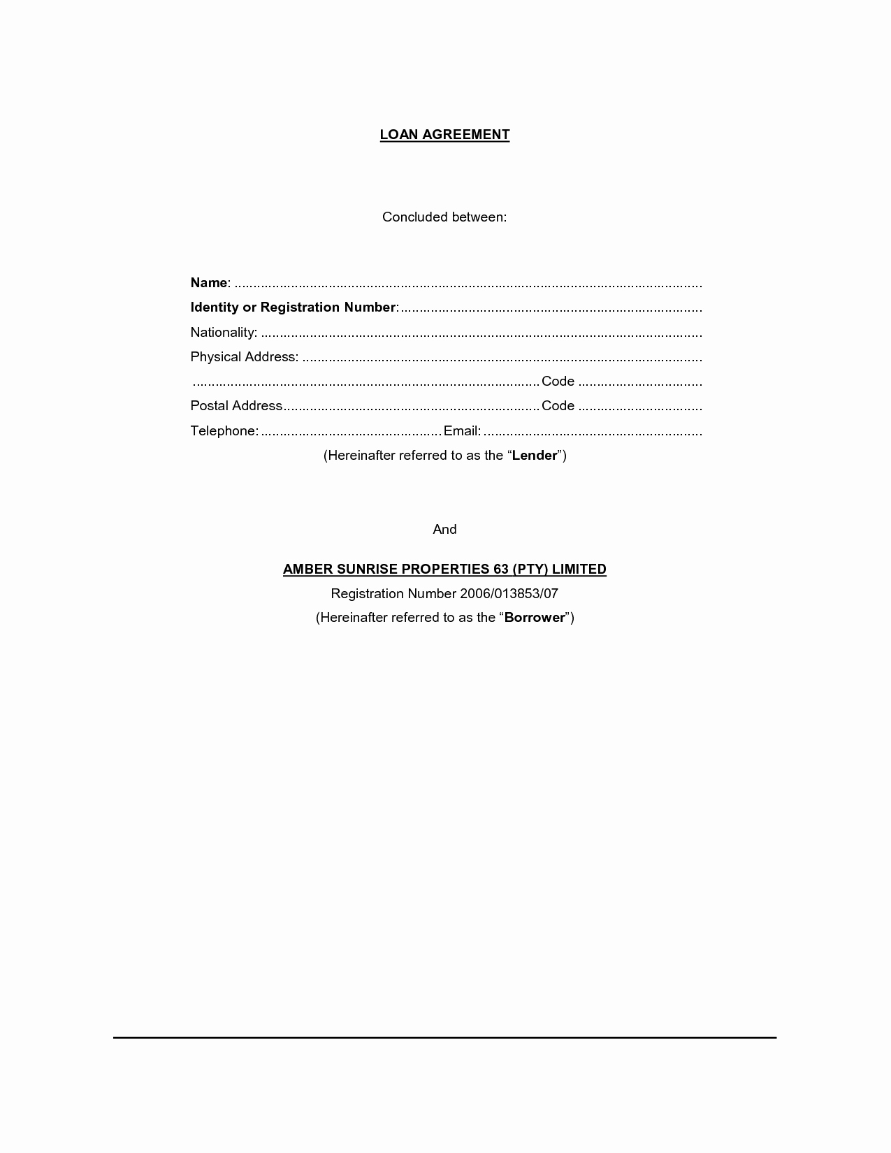 Simple Loan Agreement Pdf Luxury Free Printable Loan Contract Template form Generic