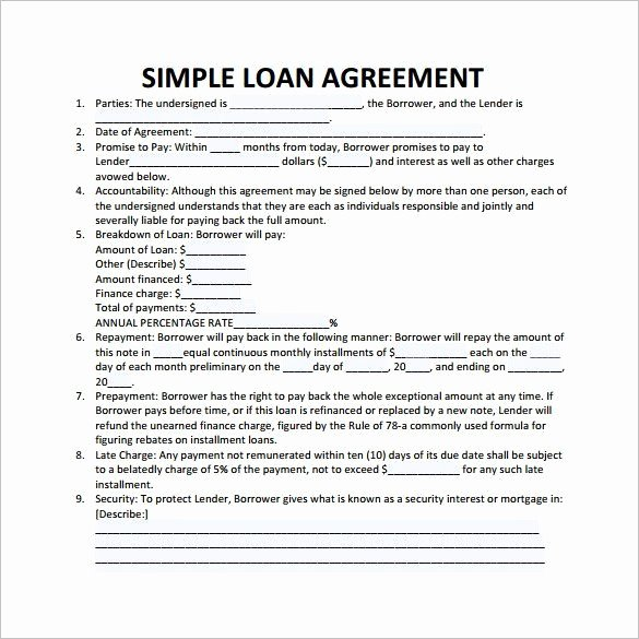 Simple Loan Agreement Pdf Luxury Simple Loan Contract Template 26 Great Loan Agreement