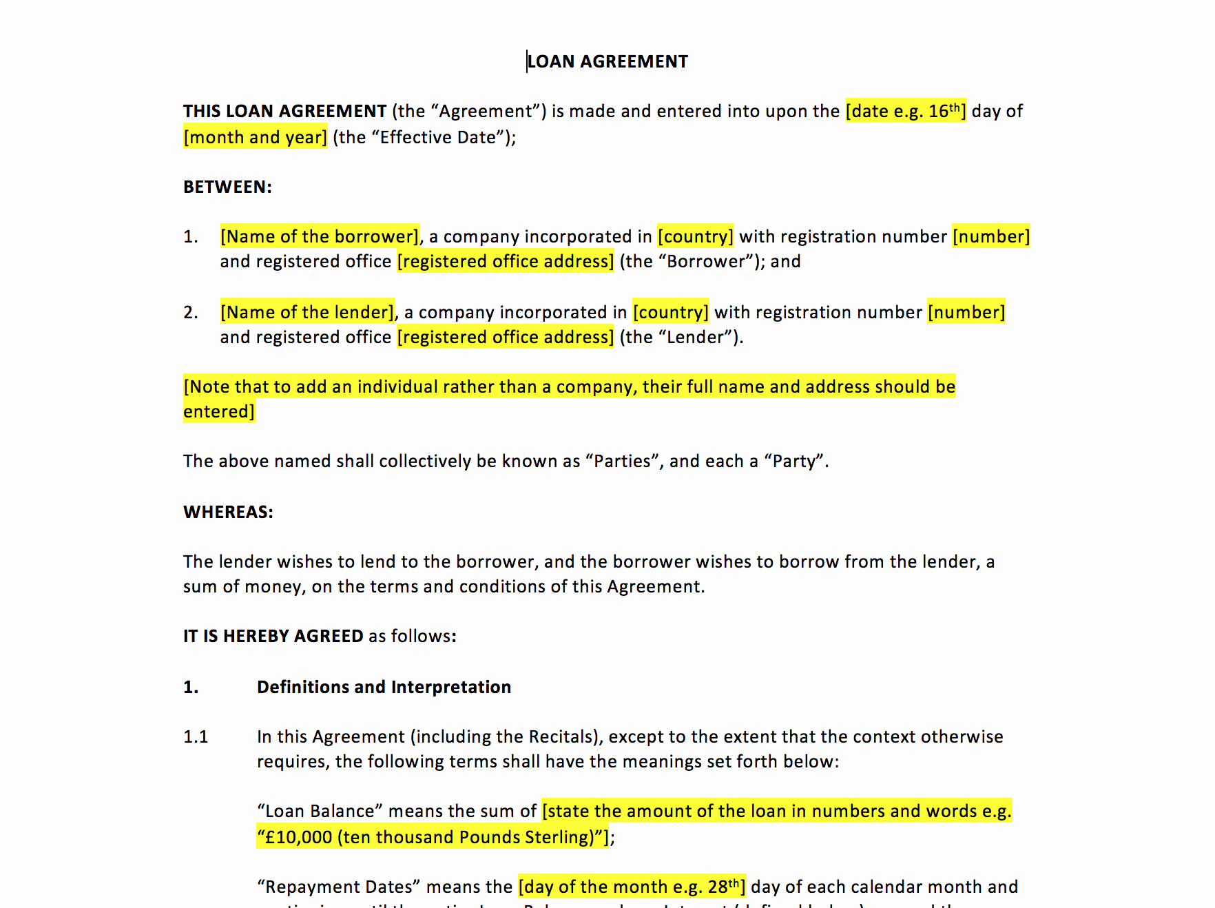 Simple Loan Agreement Pdf New Loan Agreement Template – Uk Template Agreements and