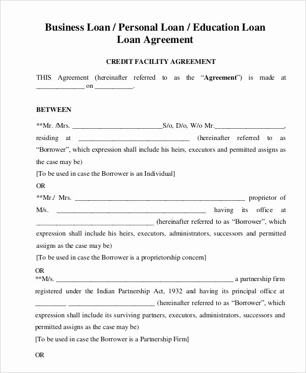 Simple Loan Agreement Pdf New Personal Loan Agreement Template